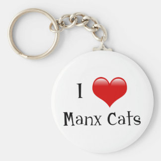 I Love Manx Cats Key Ring