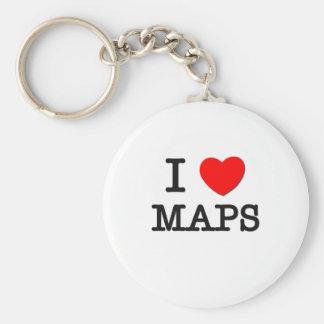 I Love Maps Basic Round Button Key Ring