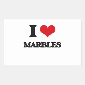 I Love Marbles Rectangular Sticker