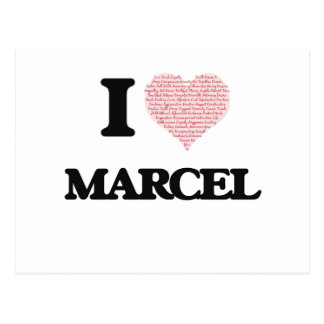 I Love Marcel (Heart Made from Love words) Postcard
