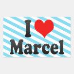 I love Marcel Rectangle Sticker
