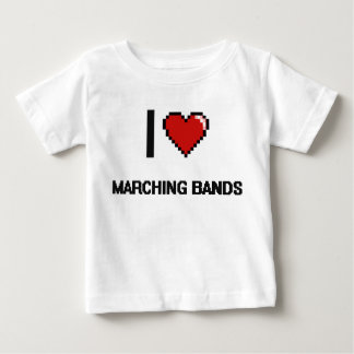 I Love Marching Bands Digital Retro Design Tee Shirt