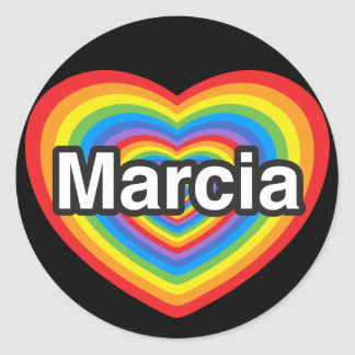 I love Marcia. I love you Marcia. Heart Round Sticker