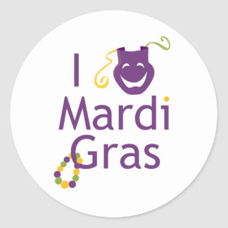 I Love Mardi Gras Parade Stickers