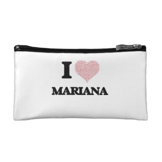 I love Mariana (heart made from words) design Makeup Bags