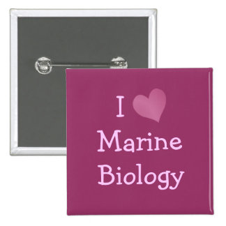 I Love Marine Biology Button