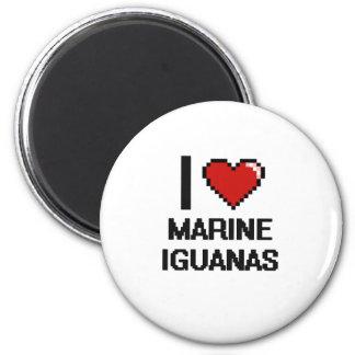 I love Marine Iguanas Digital Design 6 Cm Round Magnet