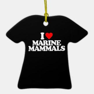 I LOVE MARINE MAMMALS Double-Sided T-Shirt CERAMIC CHRISTMAS ORNAMENT