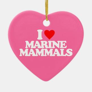 I LOVE MARINE MAMMALS Double-Sided HEART CERAMIC CHRISTMAS ORNAMENT