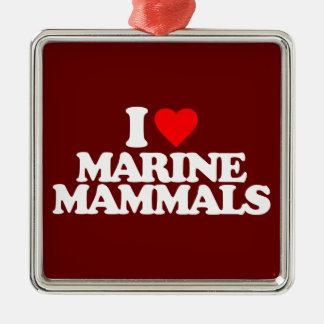 I LOVE MARINE MAMMALS SQUARE METAL CHRISTMAS ORNAMENT