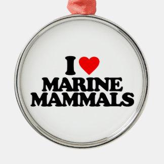 I LOVE MARINE MAMMALS ROUND METAL CHRISTMAS ORNAMENT