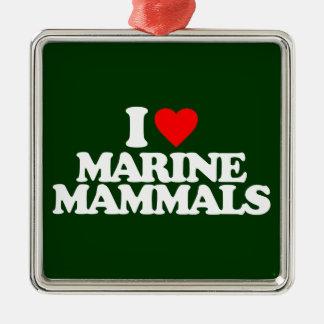 I LOVE MARINE MAMMALS CHRISTMAS TREE ORNAMENTS