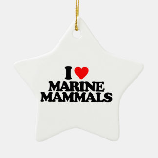 I LOVE MARINE MAMMALS Double-Sided STAR CERAMIC CHRISTMAS ORNAMENT