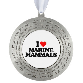 I LOVE MARINE MAMMALS ROUND PEWTER ORNAMENT