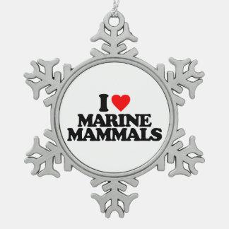 I LOVE MARINE MAMMALS PEWTER SNOWFLAKE DECORATION