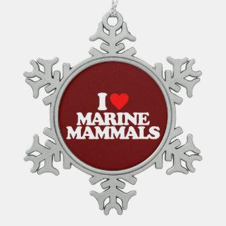 I LOVE MARINE MAMMALS SNOWFLAKE PEWTER CHRISTMAS ORNAMENT