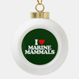 I LOVE MARINE MAMMALS CERAMIC BALL CHRISTMAS ORNAMENT