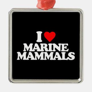 I LOVE MARINE MAMMALS Silver-Colored SQUARE DECORATION