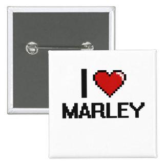 I Love Marley Digital Retro Design 2 Inch Square Button