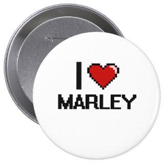 I Love Marley Digital Retro Design 4 Inch Round Button