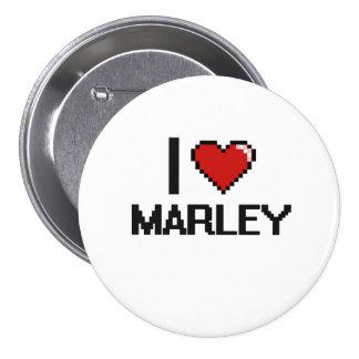 I Love Marley Digital Retro Design 3 Inch Round Button