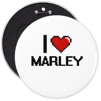 I Love Marley Digital Retro Design 6 Inch Round Button