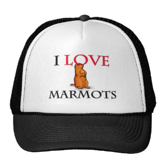 I Love Marmots Mesh Hats