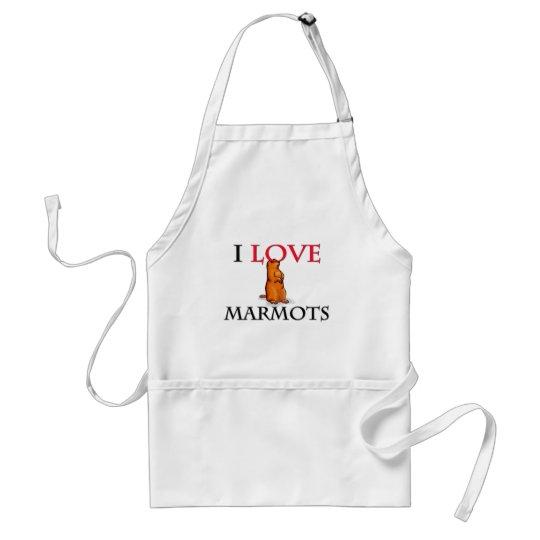 I Love Marmots Standard Apron