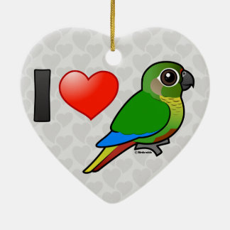 I Love Maroon-bellied Conures Ceramic Heart Decoration