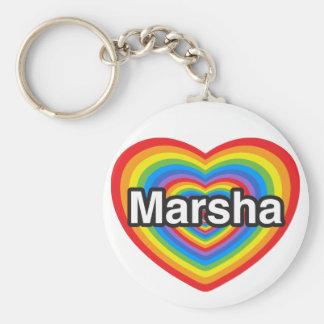 I love Marsha. I love you Marsha. Heart Key Chain