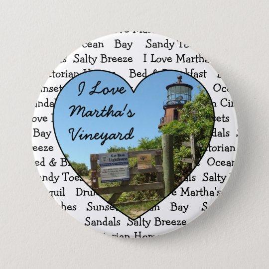 I Love Martha's Vineyard Heart Button