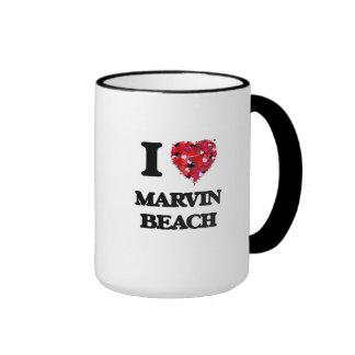 I love Marvin Beach Connecticut Ringer Mug