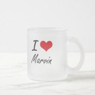 I Love Marvin Frosted Glass Mug