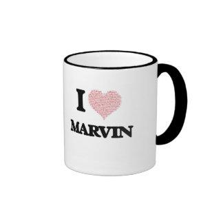 I Love Marvin (Heart Made from Love words) Ringer Mug