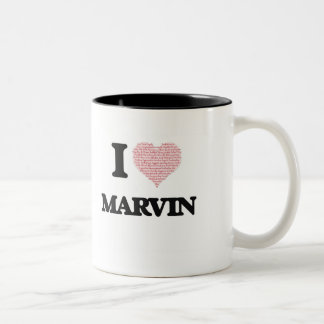 I Love Marvin (Heart Made from Love words) Two-Tone Mug