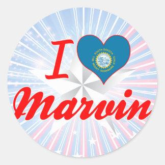 I Love Marvin, South Dakota Round Stickers
