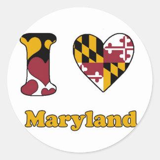 I love Maryland Classic Round Sticker