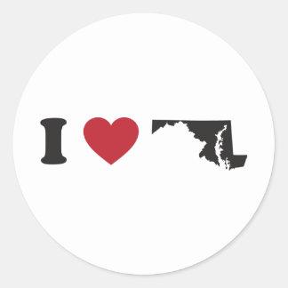 I Love Maryland Round Sticker