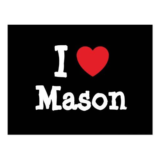 I love Mason heart custom personalized Post Card