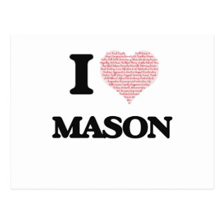 I Love Mason (Heart Made from Love words) Postcard