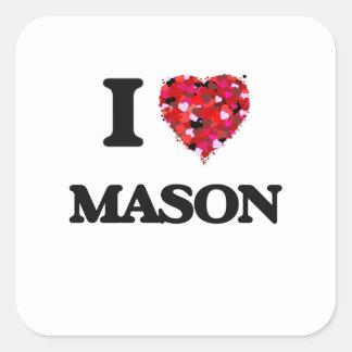 I Love Mason Square Sticker