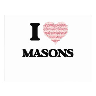 I love Masons (Heart made from words) Postcard