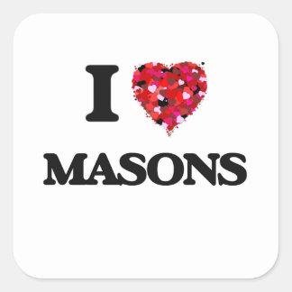 I Love Masons Square Sticker