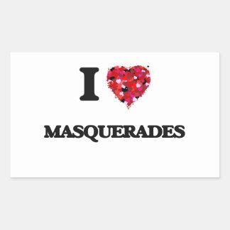 I Love Masquerades Rectangular Sticker