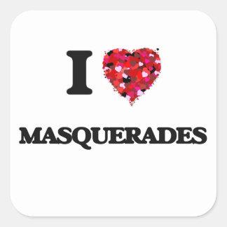 I Love Masquerades Square Sticker