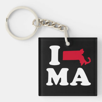 I LOVE MASSACHUSETTS - CLASSIC - Map Design -.png Single-Sided Square Acrylic Key Ring