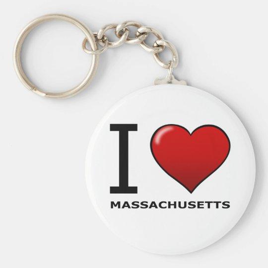 I LOVE MASSACHUSETTS KEY RING