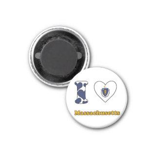 I love Massachusetts 3 Cm Round Magnet