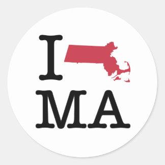 I Love Massachusetts Round Sticker