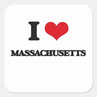I Love Massachusetts Square Sticker